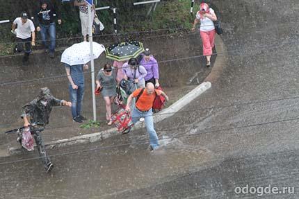 наблюдение за людбми в дождь