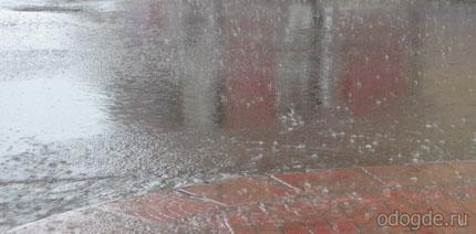 дождь по лужам