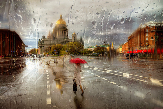 дождь на фото